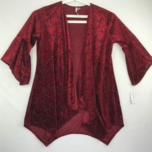 NY Collection Red Burnout Velvet Open Front Jacket